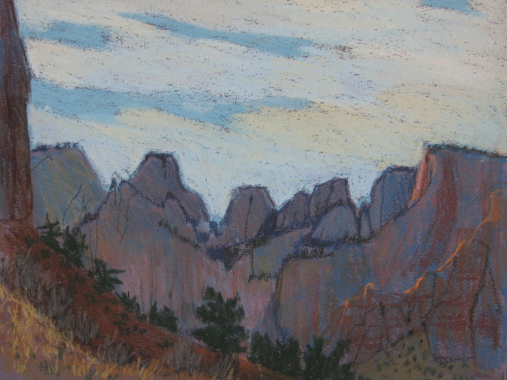 Zion, landscape, pastel, scotty Mitchell