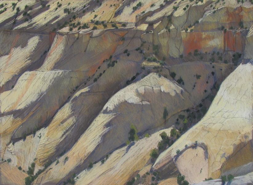 Sandstone, GSENM, southwest landscape, plain air, pastel, Scotty Mitchell