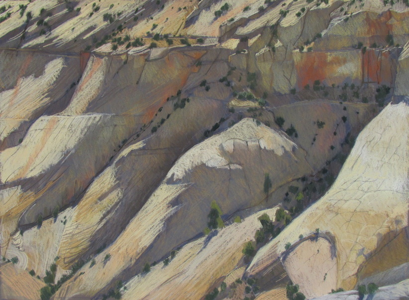Sandstone, GSENM, southwest landscape, plain air, pastel, Scotty Mitchell
