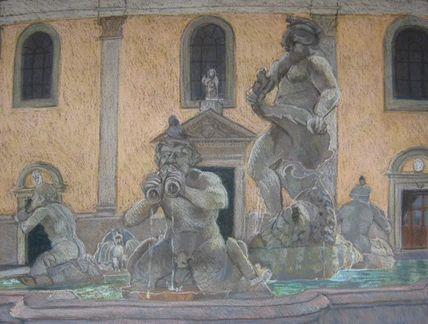 Piazza Navona, Rome, Bernini, pastel, Scotty Mitchell