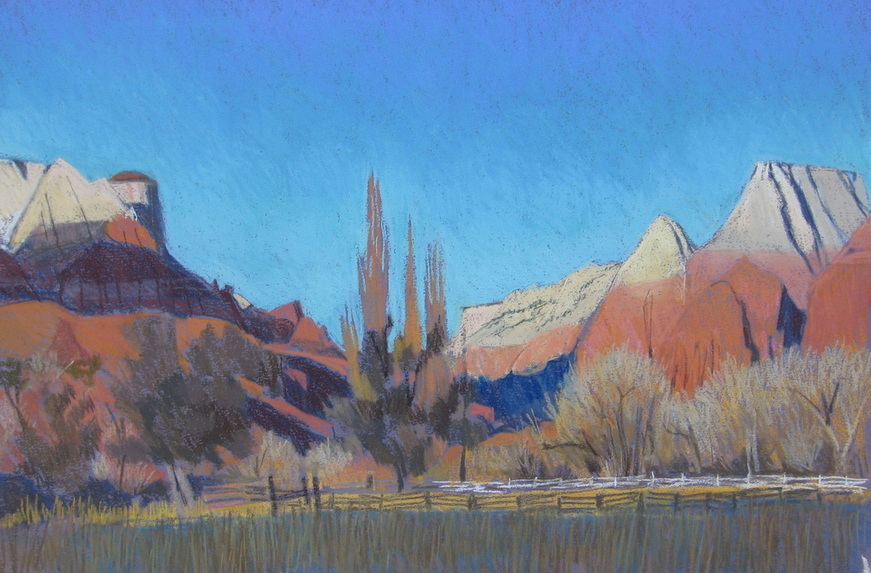 Springdale, pastel, plein air, Scotty Mitchell