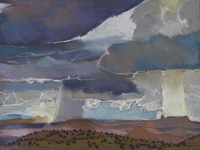 Clouds, pastel, Escalante, Scotty Mitchell, plein air