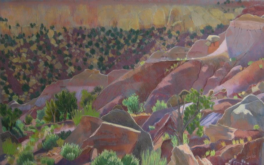Long Canyon, Utah, Landscape, pastel, scotty Mitchell, Boulder Utah