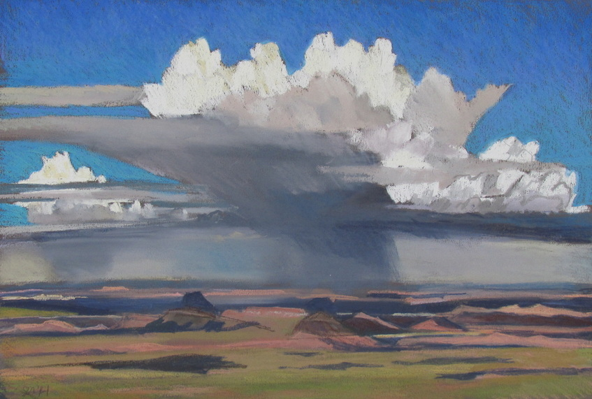 Monsoon season, clouds, southwest landscape, pastel, Scotty Mitchell